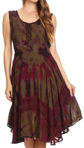 Sakkas Mathilde  Marble Tie-dye Sleeveless Tank Dress Tiered and Corset#color_Olive