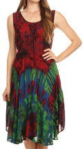Sakkas Mathilde  Marble Tie-dye Sleeveless Tank Dress Tiered and Corset#color_Red