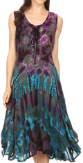 Sakkas Mathilde  Marble Tie-dye Sleeveless Tank Dress Tiered and Corset#color_Teal