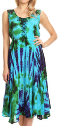 Sakkas Mathilde  Marble Tie-dye Sleeveless Tank Dress Tiered and Corset#color_Turquoise