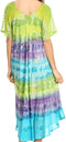 Sakkas Sula Tie-Dye Wide Neck Embroidered Boho Sundress Caftan Cover Up#color_Green / Purple
