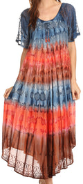 Sakkas Sula Tie-Dye Wide Neck Embroidered Boho Sundress Caftan Cover Up#color_Grey / Coral