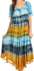 Sakkas Sula Tie-Dye Wide Neck Embroidered Boho Sundress Caftan Cover Up#color_Turq / Brown
