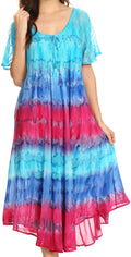 Sakkas Sula Tie-Dye Wide Neck Embroidered Boho Sundress Caftan Cover Up#color_Turq / Pink