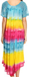 Sakkas Sula Tie-Dye Wide Neck Embroidered Boho Sundress Caftan Cover Up