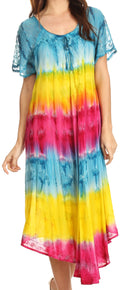 Sakkas Sula Tie-Dye Wide Neck Embroidered Boho Sundress Caftan Cover Up#color_Turq / Yellow