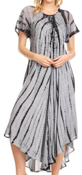Sakkas Yasmin Tie Dye Embroidered Sheer Cap Sleeve Sundress | Cover Up#color_Black / Grey