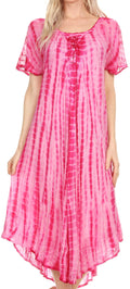 Sakkas Yasmin Tie Dye Embroidered Sheer Cap Sleeve Sundress | Cover Up#color_Fucshia