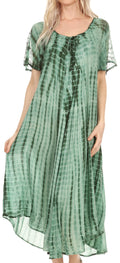 Sakkas Yasmin Tie Dye Embroidered Sheer Cap Sleeve Sundress | Cover Up#color_Green