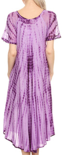 Sakkas Yasmin Tie Dye Embroidered Sheer Cap Sleeve Sundress | Cover Up