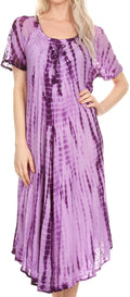 Sakkas Yasmin Tie Dye Embroidered Sheer Cap Sleeve Sundress | Cover Up#color_Purple