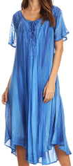 Sakkas Myani Two Tone Embroidered Sheer Cap Sleeve Caftan Long Dress | Cover Up