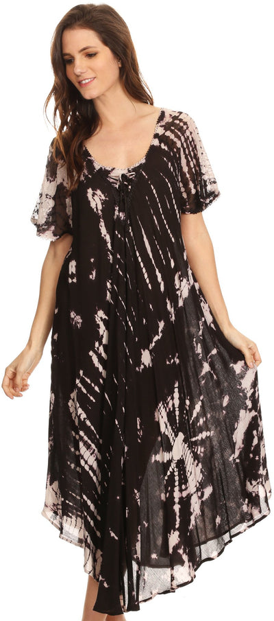 group-Black (Sakkas Ria Tie Dye Embroidered Cap Sleeve Wide Neck Caftan Dress / Beach Cover Up)