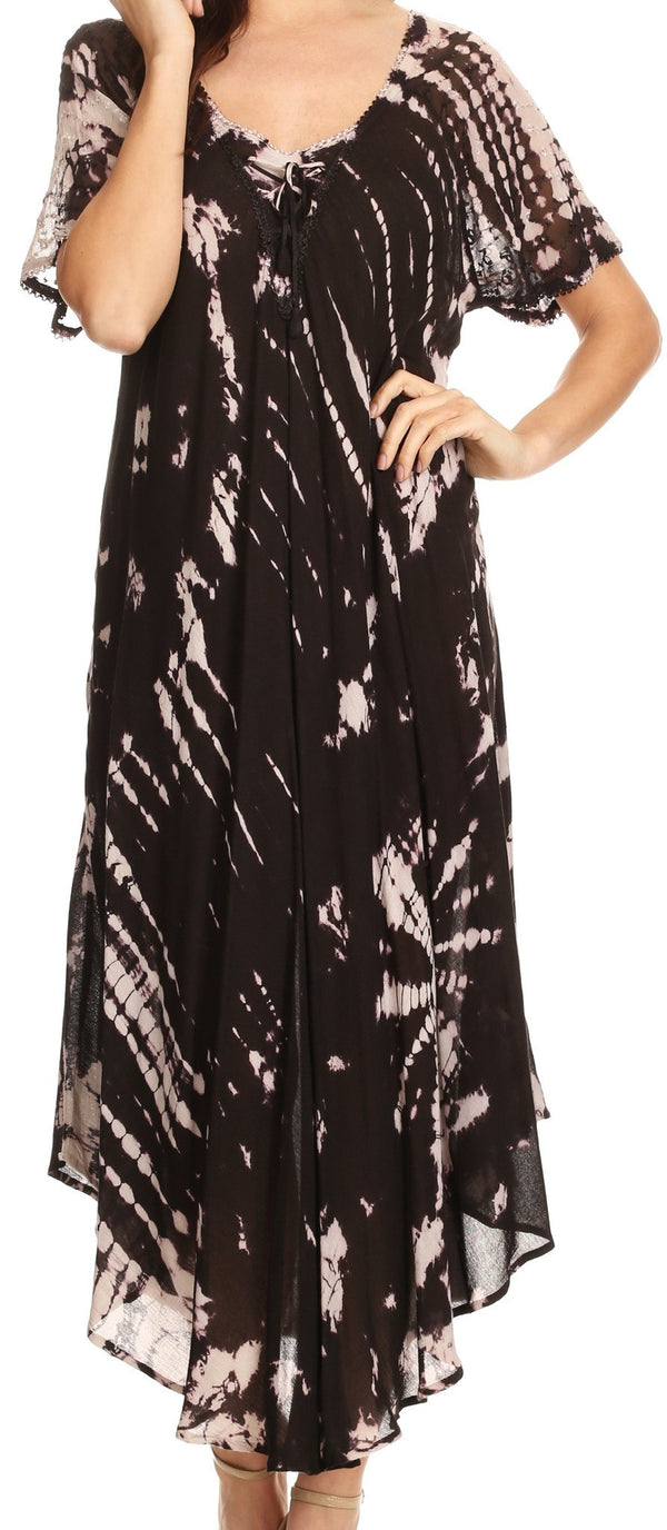 Sakkas Ria Tie Dye Embroidered Cap Sleeve Wide Neck Caftan Dress / Beach Cover Up#color_Black