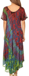group-Multi (Sakkas Ria Tie Dye Embroidered Cap Sleeve Wide Neck Caftan Dress / Beach Cover Up)