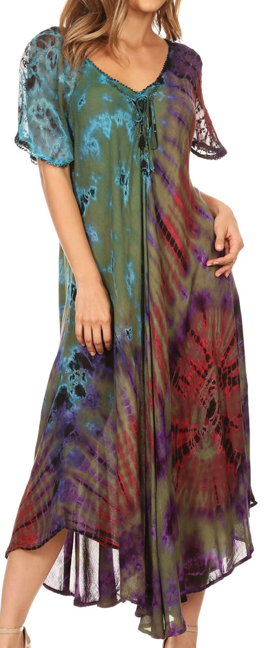 group-Olive (Sakkas Ria Tie Dye Embroidered Cap Sleeve Wide Neck Caftan Dress / Beach Cover Up)