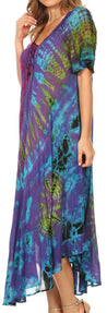 group-Purple (Sakkas Ria Tie Dye Embroidered Cap Sleeve Wide Neck Caftan Dress / Beach Cover Up)