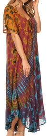 group-Red (Sakkas Ria Tie Dye Embroidered Cap Sleeve Wide Neck Caftan Dress / Beach Cover Up)