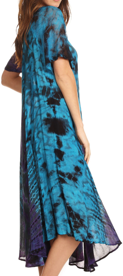 group-Teal (Sakkas Ria Tie Dye Embroidered Cap Sleeve Wide Neck Caftan Dress / Beach Cover Up)