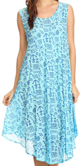 Sakkas Yara Sleeveless Casual Summer Cotton Print Beach Cover Up Swing Tank Dress