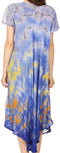 Sakkas Anita Short Sleeve Tie Dye Split Neck Dress / Cover Up#color_Blue / Grey