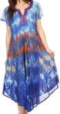 Sakkas Anita Short Sleeve Tie Dye Split Neck Dress / Cover Up#color_Blue / Red