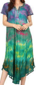 Sakkas Anita Short Sleeve Tie Dye Split Neck Dress / Cover Up#color_Fuchsia / Turq