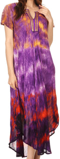 Sakkas Anita Short Sleeve Tie Dye Split Neck Dress / Cover Up#color_Purple / Orange