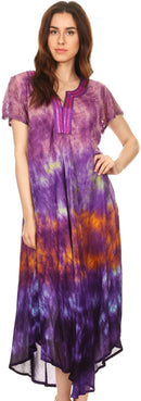 Sakkas Anita Short Sleeve Tie Dye Split Neck Dress / Cover Up