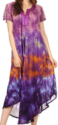 Sakkas Anita Short Sleeve Tie Dye Split Neck Dress / Cover Up#color_Purple / Pink
