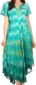 Sakkas Anita Short Sleeve Tie Dye Split Neck Dress / Cover Up#color_Turq / Yellow