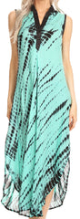Sakkas Olivia Lightweight Sleeveless Tie Dye Dress with Mandarin Collar