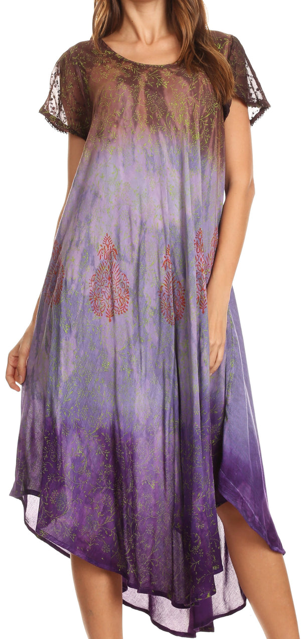 Sakkas Samira Color Block Printed Sheer Cap Sleeve Relaxed Fit Dress | Cover Up#color_Brown