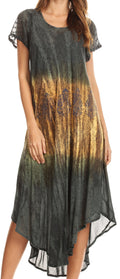 Sakkas Samira Color Block Printed Sheer Cap Sleeve Relaxed Fit Dress | Cover Up#color_Grey