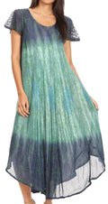Sakkas Samira Color Block Printed Sheer Cap Sleeve Relaxed Fit Dress | Cover Up#color_Navy