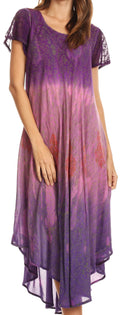 Sakkas Samira Color Block Printed Sheer Cap Sleeve Relaxed Fit Dress | Cover Up#color_Pink