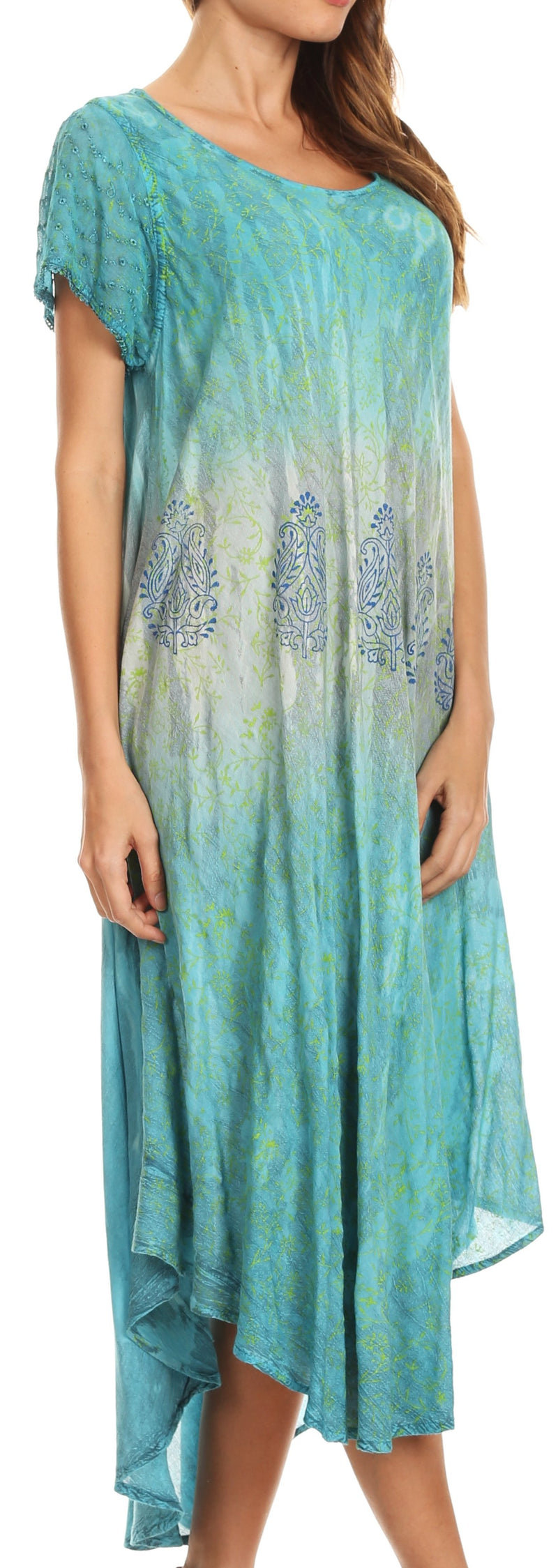 Sakkas Samira Color Block Printed Sheer Cap Sleeve Relaxed Fit Dress | Cover Up
