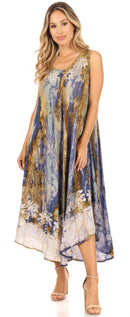 Sakkas Julia Boho Flared Multi-color Marble Batik Rayon Long Dress  / Cover Up