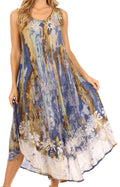 Sakkas Julia Boho Flared Multi-color Marble Batik Rayon Long Dress  / Cover Up#color_Turq