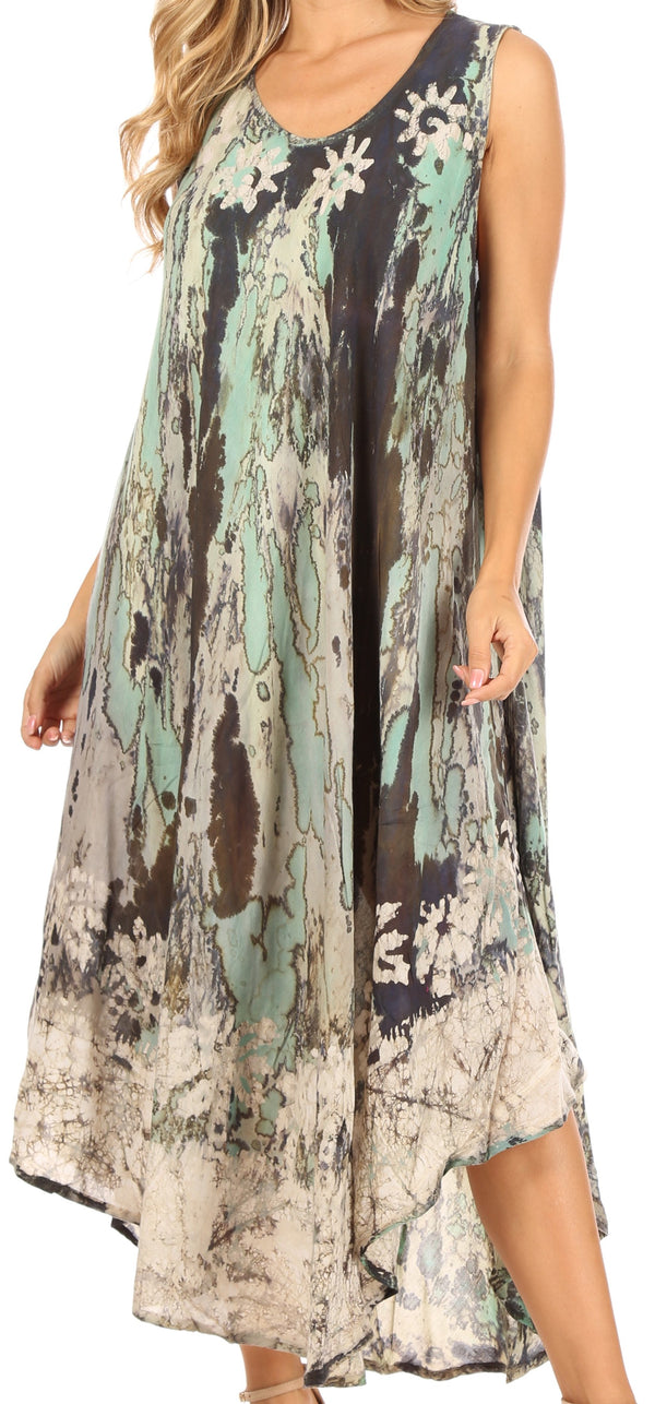 Sakkas Julia Boho Flared Multi-color Marble Batik Rayon Long Dress  / Cover Up#color_Green