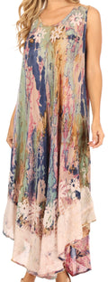 Sakkas Julia Boho Flared Multi-color Marble Batik Rayon Long Dress  / Cover Up#color_Olive
