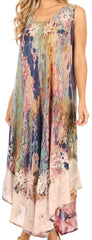 Sakkas Julia Boho Flared Multi-color Marble Batik Cotton Long Dress  / Cover Up