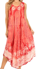 Sakkas Julia Boho Flared Multi-color Marble Batik Rayon Long Dress  / Cover Up#color_Pink