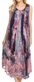 Sakkas Julia Boho Flared Multi-color Marble Batik Rayon Long Dress  / Cover Up#color_Purple
