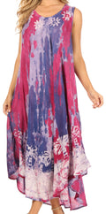 Sakkas Julia Boho Flared Multi-color Marble Batik Rayon Long Dress  / Cover Up#color_Red