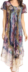 Sakkas Liliana Short Sleeve Watercolor Batik Dress/ Cover Up