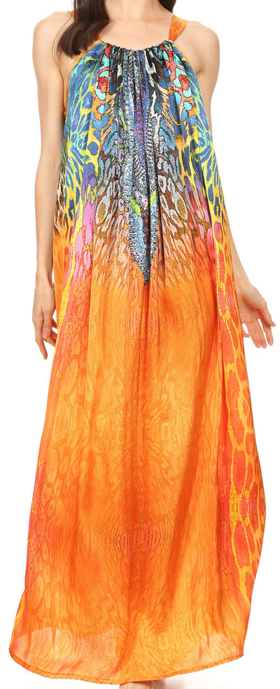 Sakkas Calypso Long Adjustable Column Dress with Animal Print and Rhinestones