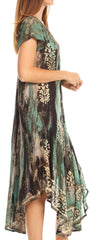 Sakkas Ginette Marble Dye Short Sleeve Long Dress with Crochet Lace