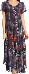 Sakkas Talia Ethnic Print Short Sleeve Long Dress/Cover Up