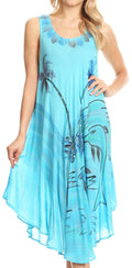Sakkas Valentina Summer Casual Light Cover-up Caftan Dress with Tropical Print#color_Turq